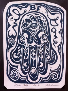 Evil Be Gone Hamsa linocut print  good luck talisman by SuziLinden, $15.00