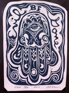 Evil Be Gone, Hamsa, linocut print - good luck talisman
