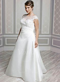 Robes de mariée - $204.51 - Forme Princesse encolure dégagée Traîne mi-longue Satin Robe de mariée avec Plissé Perles brodées (0025059072)