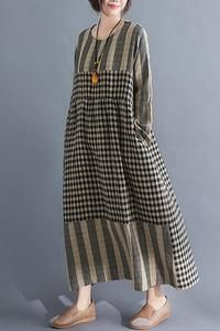 going out outfits Paneled Striped Plaid Print Vintage Maxi Dress kukaus Simple Dresses, Casual Dresses, Maxi Dresses, 1950s Dresses, Vintage Dresses, Dress Outfits, Maxi Dress Summer, Summer Dresses, Hijab Fashion