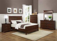 Alyssa Cherry Wood Metal Glass Master Bedroom Set
