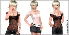 Sims 3 Female Clothes: Japanese Flowers Mesh Top Custom Content Download