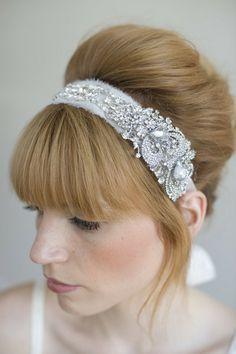 Rhinestone adorned silk chiffon headband - Style # 011   Headbands   Twigs & Honey ®, LLC