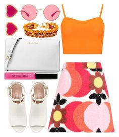 """colorful summer"" by lovedreamfashion ❤ liked on Polyvore featuring Miu Miu, WearAll, Michael Kors, She Bee, Ray-Ban, Bobbi Brown Cosmetics, Henri Bendel, Marni, white and Pink"