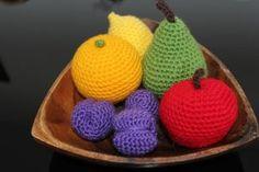 Crocheted Fruit: apple,orange,pear,lemon and plums. Play Food
