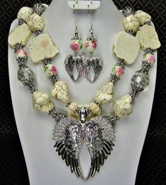 If you see a necklace that your would like to have but is sold, please don't hesitate to contact us and we will get a similar version made just for you Cowgirl Jewelry, Western Jewelry, Turquoise Jewelry, Gemstone Jewelry, Angel Wings Jewelry, Cowgirl Wedding, Chunky Jewelry, Jewelry Ideas, Diy Jewelry