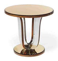 AN ART DECO PEACH AND MIRROR GLASS TABLE