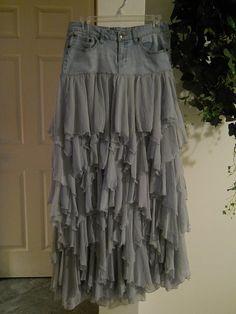Belle Bohémienne jean skirt ruffled grey silk frilly frou frou Made to Order fairy goddess Renaissance Denim Couture