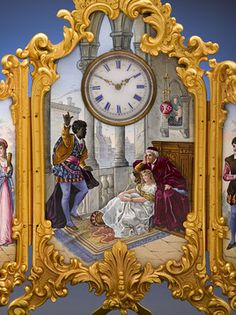 Antique French or Austrian Enamel Clock - Othello