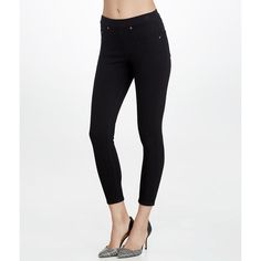 4e59acef7b49f SPANX Ready-to-Wow Medium Control Cropped Denim Leggings ($49) ❤ liked on Polyvore  featuring pants, leggings, hosiery, opaque, women, white leggings, ...