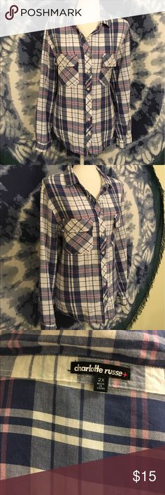 Excellent Plaid Camp Shirt by Charlotte Russe 2X Very cute plaid camp shirt. Lightweight and comfy. 2x by Charlotte Russe. Blue pink and white colors. Excellent condition! Charlotte Russe Tops Button Down Shirts