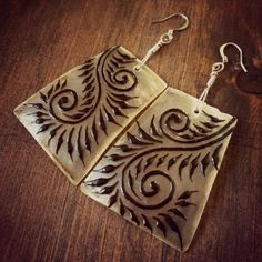 spiral feather hand painted earrings by OurFolkLife on Etsy, $37.00