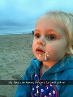 My niece after trying a s'more for the first time. via /r/funny...