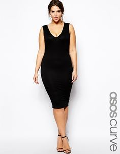 ASOS CURVE Exclusive Body-Conscious Dress With V-Neck In Longer Length
