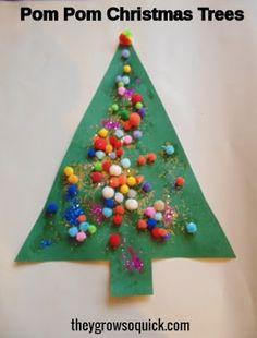 Pom Pom and Glitter Christmas Trees All Things Christmas, Christmas Tree, Triangle, Glitter, Crafts, Needlepoint, Teal Christmas Tree, Manualidades, Xmas Trees
