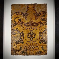 Rococo Cuir de Cordoue panels. One of a series which were probably an antependium in a chateau chapel, c 1750  more photos and info on ChateauAntiques.com #antiques #antiquesforsale #antiquestore #antiqueshop #chateauantiques #antependium #religiousartefact #uniquegift #cuirdecordoue #gouldleer #goldleather