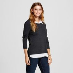 Women's Pullover Sweater with Woven Underlay - Jillian Nicole