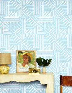 Removable Wallpaper Panel in geometric pattern.