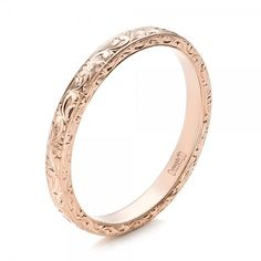 Custom Rose Gold Hand Engraved Wedding Band