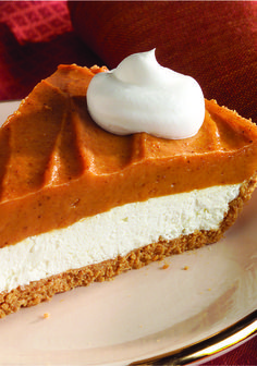 Creamy Two-Layer Pumpkin Pie – For lots of people, Thanksgiving just wouldn't be complete without pumpkin pie—a classic fall dessert recipe! Super cool. Super whipped. The secret to this layered take on the classic is the creamy yet airy combo of cream cheese and whipped topping.