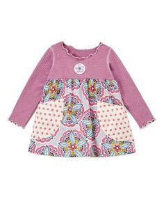Loving this Pink & Gray Medallion Flower Pocket Babydoll Tunic - Kids & Tween on #zulily! #zulilyfinds