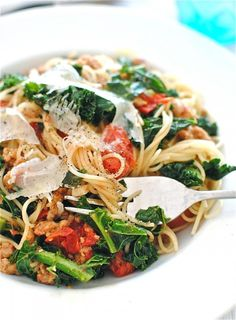 Pasta with Chicken Sausages, Tomatoes & Kale - can't find kale here, will need to substitute with swiss chard or spinach