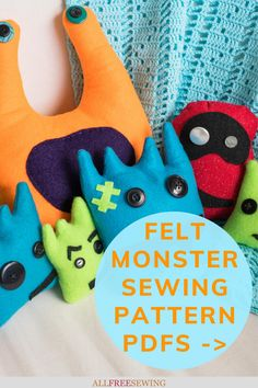 Kid-Friendly Felt Monster Patterns | Kids can make their own sewn DIY monster friend! Not only will you find monster pattern printables but a how-to for sewing them up! Sewing Projects For Kids, Sewing For Kids, Felt Monster, Sewing Toys, Diy Gifts, Little Ones, Monsters, Sewing Patterns, Printables
