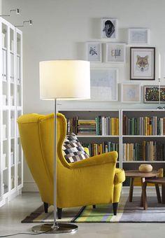Fauteuils Ikea : le modèle à oreilles jauneFauteuil à oreilles, Skiftebo jaune,STRANDMON