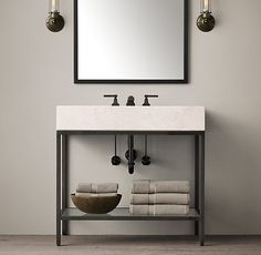 RH's Hudson Metal Single Frame Washstand:We looked to the last century to inform our collection's aesthetic, creating an open-back sink and matching storage with the minimalist lines of the 1950s.