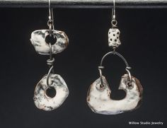 Snow and Steel earrings, ceramic dangle earrings with mottled white glaze on organic shapes, basic black and white, handmade and unique