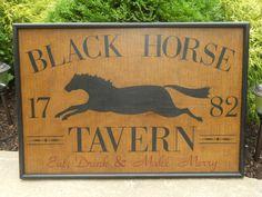 Primitive Black Horse Tavern Trade Sign Folk Art by JohnnyUNamath