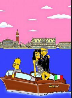 """O artista e ilustrador italiano Alexsandro Palombo transformou George Clooney e sua Amal Alamuddin em personagem de """"Os Simpsons"""". Conhecido por seus desenhos irreverentes, Palombo fez pelo menos cinco desenhos em referência ao casal Foto: Alexsandro Palomb"""