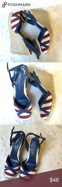 Tommy Hilfiger Espadrilles Super cute Tommy Hilfiger espadrilles. Very preppy chic and perfect for summer. There is some visible wear (price reflected) but still in good condition - probably just need to be cleaned. Tommy Hilfiger Shoes Espadrilles