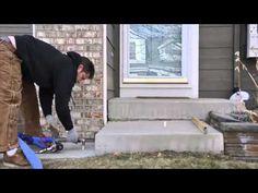 Polyurethane Porch Lift - YouTube Stamped Concrete, Concrete Slab, Concrete Lifting, Cement Steps, Mud, Porch, Sink, Youtube, Ideas