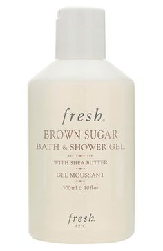 Free shipping and returns on Fresh® Brown Sugar Bath & Shower Gel at Nordstrom.com. Brown Sugar Bath & Shower Gel with shea butter revitalizes and gently cleanses the skin. The foaming gel is enriched with real brown sugar, a natural humectant known to prevent moisture loss, and evening primrose, sweet almond, apricot kernel and jojoba oils to soften skin. Features an invigorating citrus scent.