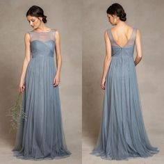 Cheap tulle bridesmaid dress, Buy Quality bridesmaid dresses directly from China dusty blue Suppliers: Dusty Blue Tulle Bridesmaid Dresses 2017 Illusion Bateau Neckline Pleats Bodice A Line Floor Length Formal Gowns Bridesmaid Dresses Long Blue, Tulle Bridesmaid Dress, Designer Bridesmaid Dresses, Burgundy Bridesmaid, Wedding Dresses, Illusion, Dresser, Maid Of Honour Dresses, Chiffon