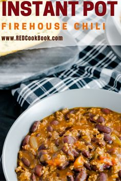 Instant Pot (Pressure Cooker) Firehouse Chili packed full of flavor and this meal is ready in less than 30 minutes start to finish. Chicken Recipes, Kale Recipes, Rib Recipes, Noodle Recipes, Fudge Recipes, Pudding Recipes, Steak Recipes, Baked Chicken, Cooker Recipes