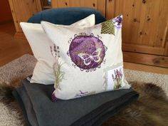 Kissenbezug 40x40 beige lila Lavendel Landhaus Shabby Kissenhülle ohne Kissen | eBay