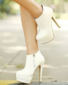 White High Heels Booties