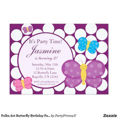 Polka dot Butterfly Birthday Party Invitation