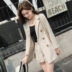 Summer Thin Cotton and Linen Casual Set Double Breasted Blazer Jacket and Shorts Pant Suit 2 Pieces Set for Women Chic Outfits Crop Top Und Shorts, Long Sleeve And Shorts, Blazers For Women, Suits For Women, Clothes For Women, Suit Fashion, Women's Fashion Dresses, Crop Top Et Short, Style Désinvolte Chic
