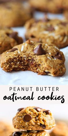 Healthy Oatmeal Cookies, Healthy Cookie Recipes, Peanut Butter Oatmeal, Healthy Peanut Butter, Healthy Sweets, Healthy Baking, Baking Recipes, Healthy Oat Bars, Gluten Free Oatmeal Cookie Recipe