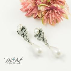 Handcrafted, wedding earings with pearls