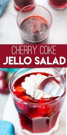 Coke Jello Salad Cherry Coke Jello Salad: delicious jello salad for your picnics, holiday table and more.Cherry Coke Jello Salad: delicious jello salad for your picnics, holiday table and more. Jello Dessert Recipes, Dessert Salads, Köstliche Desserts, Delicious Desserts, Yummy Food, Fruit Salads, Cherry Jello Recipes, Jello Pudding Recipes, Gelatin Recipes