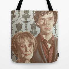 Sherlock and Mrs Hudson Tote Bag by Android-Sheep - $22.00