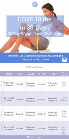 Lose 10 pounds in a month with our 30 day weight loss challenge.