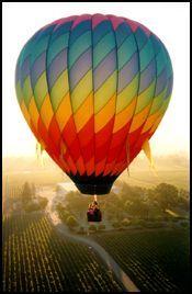 hot air balloon over napa valley. i am bringing water grenades.