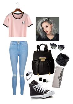 """""""◼️◾️▪️▪️◾️⬛️"""" by cutekittyxox ❤ liked on Polyvore featuring New Look, Converse, Ivanka Trump, Nanette Lepore, Saachi and Bling Jewelry"""