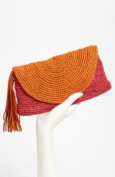 Alternate Image 2 - Mar y Sol 'Camille' Raffia Clutch Crochet Clutch Bags, Crochet Wallet, Free Crochet Bag, Crochet Handbags, Crochet Purses, Diy Crochet, Crochet Crafts, Crochet Bags, Filet Crochet