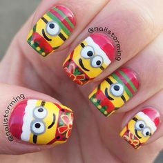 Santa Minions ✨ These are the cutest!  Nails by @Nailstorming by thenailartstory - instaview.me
